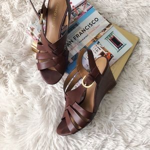 FRANCO SARTO brown open toe wedge sandals